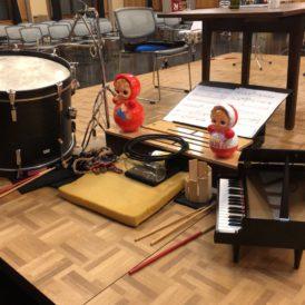 前回の、Cosmo Projekt 2018 『Zeitgenössische Musik -ゲンダイの打楽器オンガクvol.2-』@京都芸術センターで初演し、今回再演する山本和智作品の楽器セット