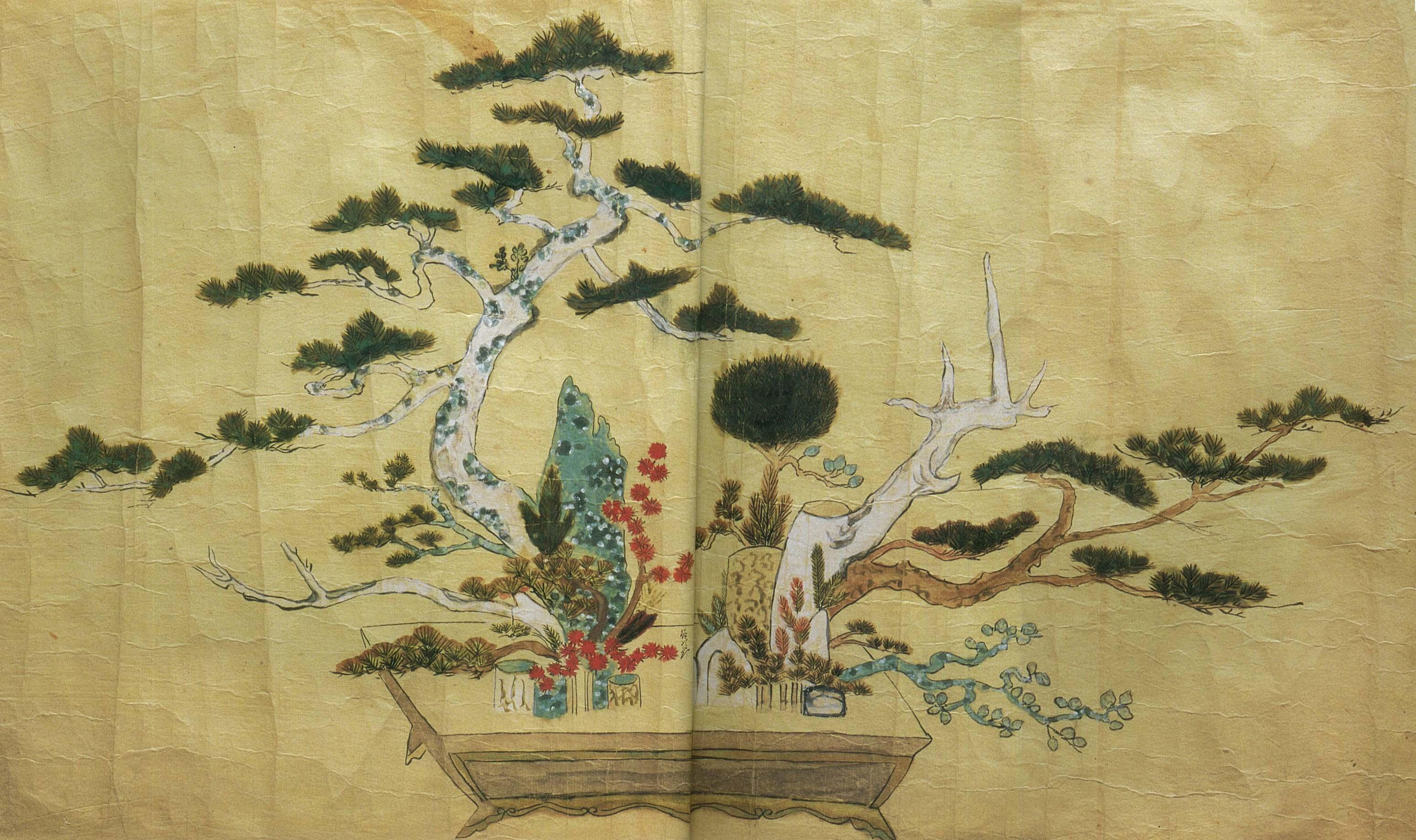 流祖が宗祖日蓮大聖人第400年遠の砌 本能寺大客殿において立てた立華 作品は真の高さ2間2尺、横6間2尺の大作