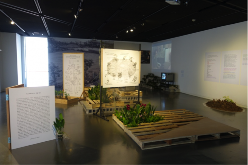Installation View of Growing Manual (organized in collaboration with artists Hyemin Son and John Reardon) at Seoul Museum of Art, 2014